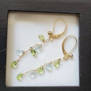 14KT YG w/Genuine Gemstone Earrings